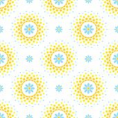 Sunny Seamless Pattern With Blue Flowers And Orange And Yellow Halftone Circle Frame On White Backgr poster
