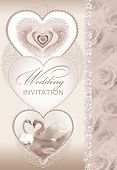 Cute Wedding Invitation Card With  Heart