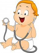 Illustration of a Baby Playing with a Stethoscope