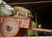 Costa Rican Ox Cart Loaded With Coffee Bags