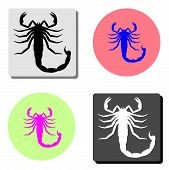 Scorpio. Simple Flat Vector Icon Illustration On Four Different Color Backgrounds poster