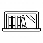Laptop Book Library Icon. Outline Illustration Of Laptop Book Library Vector Icon For Web Design Iso poster