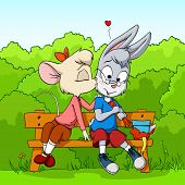 Little Mouse Kissing Shy Rabbit On Bush Background