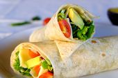 Vegeterian Burritos Wraps With Cheese And Vegetables On White Background. Beef Burrito, Mexican Food poster