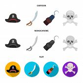 Pirate, Bandit, Cap, Hook .pirates Set Collection Icons In Cartoon, Flat, Monochrome Style Vector Sy poster