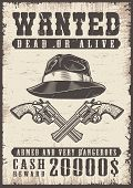 Wanted Vintage Poster With Skull. Vector Illustration poster