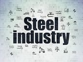 Industry Concept: Painted Black Text Steel Industry On Digital Data Paper Background With  Hand Draw poster