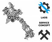 Repair Service Laos Map Composition Of Tools. Abstract Geographic Scheme In Grey Color. Vector Laos  poster