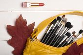 Makeup Brushes Inside Bag Near Red Autumn Leaves. Set Make Up Tools And Seasonal Symbols. Cosmetic B poster