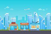 Building Of Shop, Supermarket, Barber Shop Salon, On Background Of City, Large Metropolis, Surroundi poster