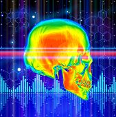 Thermal image of the human skull, blue technology background, lights, chemical formulas & digital wave. Bitmap copy my vector id 74035825