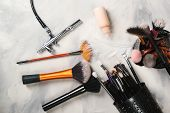 Makeup Tools For Professional Makeup Artist. Makeup Brushes. Airbrush And Jar Of Paint. Makeup Tools poster