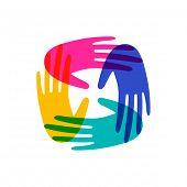 Colorful Human Hands Together. Community Team Concept Illustration For Culture Diversity Or Teamwork poster