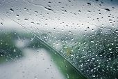 Drops Of Rain On The Car Glass. A Journey In The Rainy Weather. The Rainy Season poster