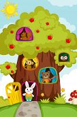 Animals In A Treehouse
