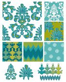 Damask theme vector seamless patterns and icons.  Use to create fab digital paper for card projects