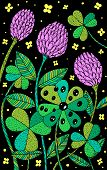 Clover - Floral Illustration. Colorful Plant Drawing. Graphic Psychedelic Multicolored Line Art. Vec poster