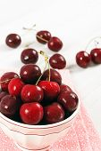 Bowl Of Fresh Ripe Red Cherries
