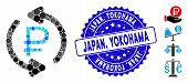 Mosaic Refresh Rouble Balance Icon And Rubber Stamp Seal With Japan, Yokohama Caption. Mosaic Vector poster