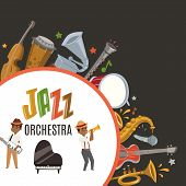 Jazz Orchestra Or Jazzband With Cartoon Characters Musician Saxophonist And Piano Player And Musical poster