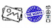 Mosaic Landscape Pictures Icon And Rubber Stamp Seal With Photo Of The Month Text. Mosaic Vector Is  poster