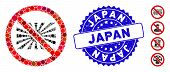 Mosaic No Japanese Icon And Rubber Stamp Watermark With Japan Caption. Mosaic Vector Is Created With poster