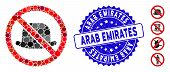 Mosaic No Hat Icon And Rubber Stamp Watermark With Arab Emirates Caption. Mosaic Vector Is Formed Wi poster