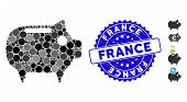 Mosaic Piggy Bank Icon And Corroded Stamp Watermark With France Text. Mosaic Vector Is Formed With P poster