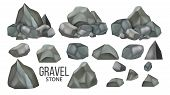 Stone Gravel And Granite Collection Set Vector. Different Shape Stone, Stacked Concrete Pebble. Natu poster