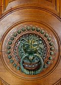 Door With A Bronze Knocker In The Shape Of A Lion's Head poster