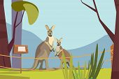 Cute Kangaroo In Zoo Flat Vector Illustration. Wallaby Mom With Little Cub. Exotic Mammals, Marsupia poster