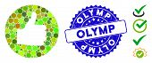 Collage Thumb Up Icon And Rubber Stamp Seal With Olymp Phrase. Mosaic Vector Is Composed With Thumb  poster