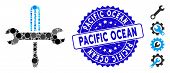 Collage Tools Icon And Grunge Stamp Watermark With Pacific Ocean Caption. Mosaic Vector Is Composed  poster