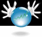 image of seer  - Business Forecaster hands around a shiny crystal ball with blue glow predict a bright future of profit in a chart  - JPG