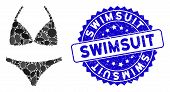 Mosaic Bikini Icon And Grunge Stamp Seal With Swimsuit Caption. Mosaic Vector Is Composed With Bikin poster