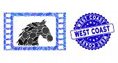 Mosaic Western Movie Icon And Corroded Stamp Seal With West Coast Caption. Mosaic Vector Is Designed poster