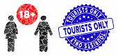 Mosaic For Adults Icon And Distressed Stamp Seal With Tourists Only Text. Mosaic Vector Is Formed Wi poster