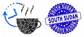Mosaic Coffee Break Icon And Grunge Stamp Watermark With South Sudan Caption. Mosaic Vector Is Desig poster