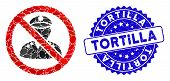 Mosaic No Military Officer Icon And Distressed Stamp Seal With Tortilla Caption. Mosaic Vector Is Co poster