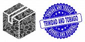 Mosaic Product Package Box Icon And Distressed Stamp Seal With Trinidad And Tobago Caption. Mosaic V poster