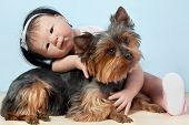picture of baby doll  - Asian Baby Doll Embracing her pet dog yorkshire sitting down in front on a white background - JPG