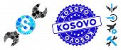 Mosaic Repair Price Icon And Rubber Stamp Seal With Kosovo Phrase. Mosaic Vector Is Composed With Re poster