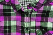 Colorful Plaid Shirt Close Up View Of Bright Vivid Violet, Grey, White And Black Tartan Pattern Clot poster