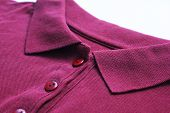 Polo Shirt Buttoned Collar Neck Top Of Purple Or Dark Pink Colour Clothes. Casual Cotton T-shirt, Ma poster