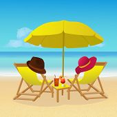 Chaise Lounges With Umbrella On Idyllic Tropical Sandy Beach. Seaside Landscape Background. Summer H poster