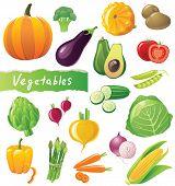 Fresh vegetables icons set