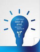 Blue paper in shape of light bulb idea