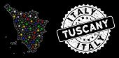 Bright Mesh Tuscany Region Map With Lightspot Effect, And Seal Stamp. Wire Frame Polygonal Tuscany R poster