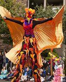 Stilt Walker In Bird Costume