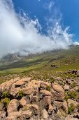 Ethiopian Bale Mountains National Park With Clouds Covering Peak. Ethiopia Wilderness Pure Nature. S poster